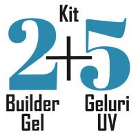 Kit unghii 2 Builder Gel + 5 Gel-uri colorate nail art