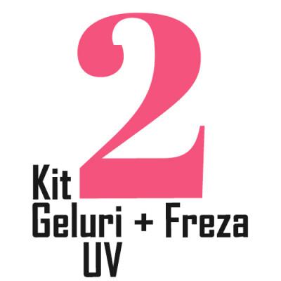 Kit unghii cu 2 Gel-uri Builder UV si Freza Electrica 35000RPM nail art